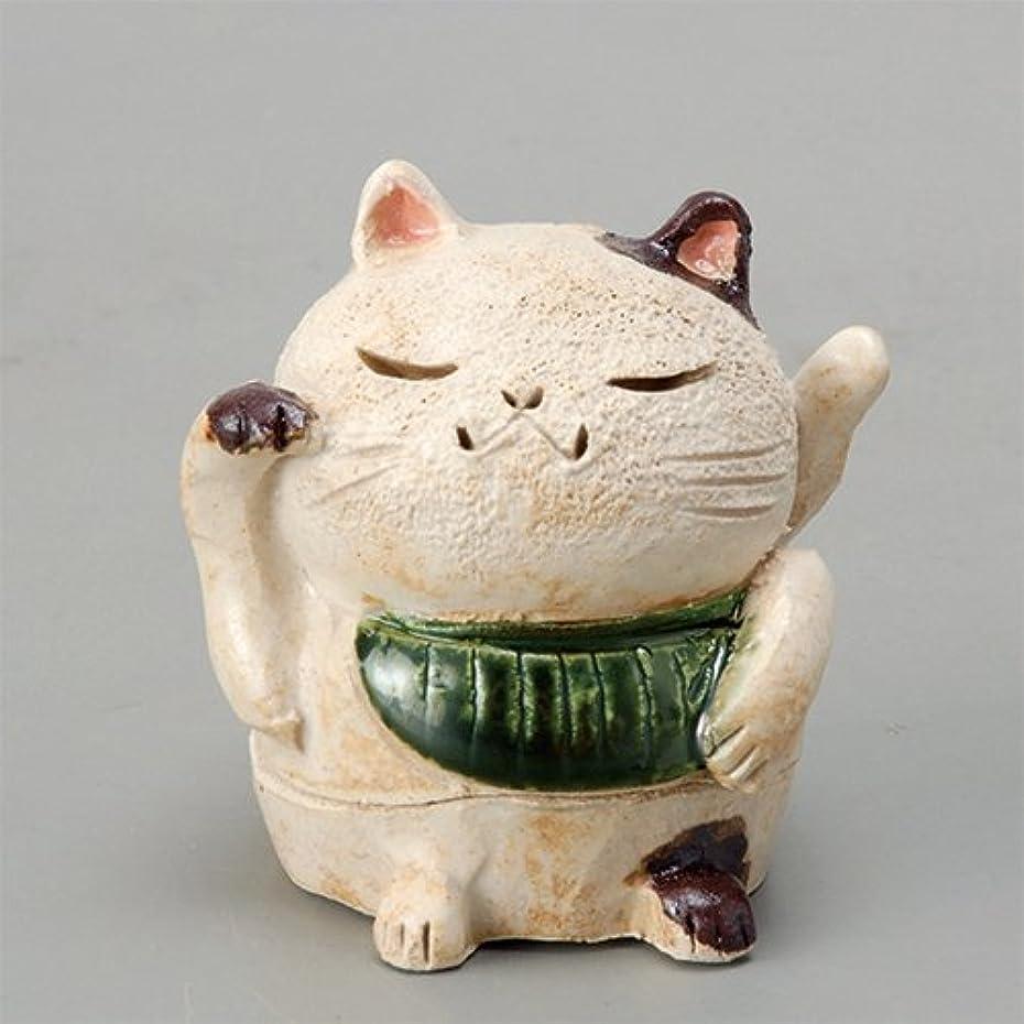 開いたフィドル明示的に香炉 白萩 招き猫(お金)香炉(小) [H8cm] HANDMADE プレゼント ギフト 和食器 かわいい インテリア