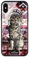 with NYAGO 背面強化ガラス TPUバンパー 背面ケース apple iPhone 7 Plus (iPhone7p) インディアン ソラちゃん ネイティブ柄 エスニック かわいい猫フェイス 7093 ザイオン ピンク 全面保護 耐衝撃