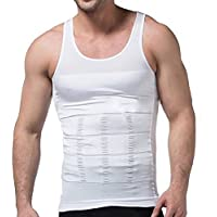 MISS MOLY Men's Body Shaper Vests Abs Abdomen Slimming Shirt Tummy Waist Vest X-Large White