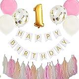 Hanamei(ハナメイ)誕生日 飾り付け 装飾 バースデー デコレーション セット no.2 ファーストバースデー1歳 2歳 男の子 女の子 pa015 (1歳, ピンク)