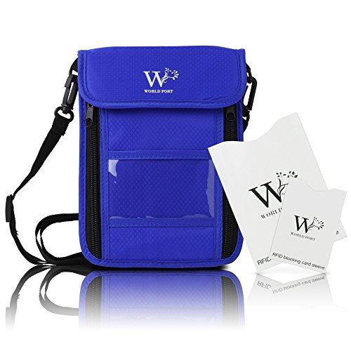 WORLD PORT 強化版 パスポート セキュリティポーチ RFID 遮断ケース付き クレジットカード 防犯 ホルダー 旅行 安全 (青)