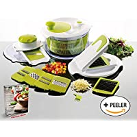 Salad Maker & Mandolin Set - Salad Spinner with 7 Interchangeable Stainless Steel Blades - Perpetual Peeler and eBook included by Savant Kitchen