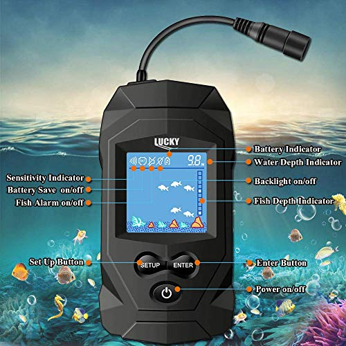 LUCKYLAKER Portable Fish Finder Wired Transducer Handheld Depth Finders Sonar Transducer LCD Display Fishing Sonar Handheld for Kayak Fishing Boat Fishing Sea Fishing Ice Fishing