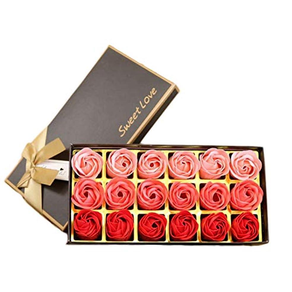 タオルスパーク脅威サントレード 18枚入り 花の香 せっけん バスソープ せっけん ローズフラワー形 ロマンティック 記念日 誕生日 結婚式 バレンタインデー プレゼント (レッド)