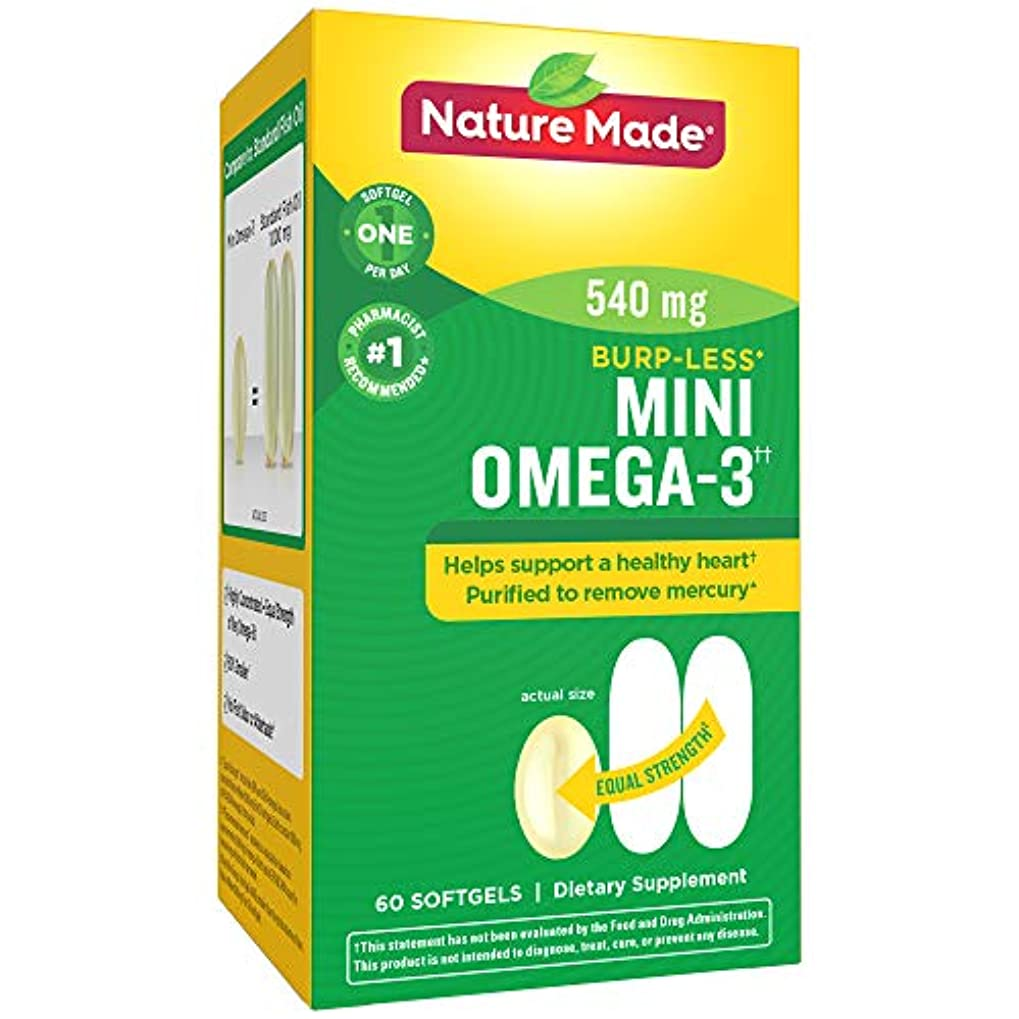 不適緊張叫ぶNature Made Super Omega-3 Fish Oil Full Strength Softgels, Mini, 60 Count 海外直送品