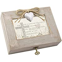 For God So Loved Distressed Wood Locket Jewellery Music Box Plays Tune We Have a Friend in Jesus