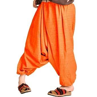 流行に敏感なアナタの サルエル パンツ メンズ&レディース ユニセックス ダンス M@T0504 オレンジ