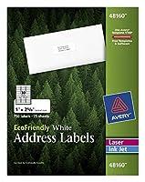 EcoFriendly Labels, 1 x 2-5/8, White, 750/Pack (並行輸入品)