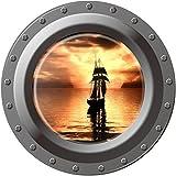 【福美康】 ウォールステッカー 潜水艦の窓 ポスター 写真 フォト マリン ルーム おもしろ インテリア 42cm x 42cm(船4)