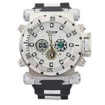 [ビンズ] BINZI ファッション腕時計, ビッグフェース 多機能 防水 アナデジ 日付 ledライト付き クロノグラフ ミリタリー パイロット HP-W メンズ(ホワイト)