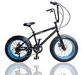 ファットバイク カスタム FAT BIKE 20インチ 自転車 ブルー ギア付 シートポスト チョッパーハンドル