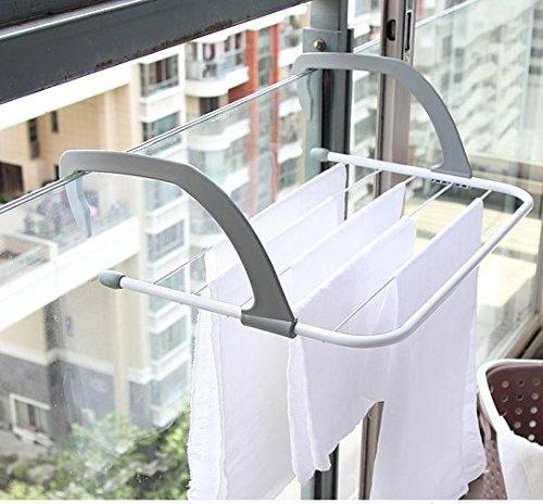 YOMYM 物干しラック 物置き棚 フック式 ハンドル 折畳み ラック フォールディング 洗濯物ハンガー タオル掛け タオルバー