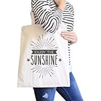 365 Printing Enjoy The Sunshine Natural Cute Summer Heavy Cotton Canvas Tote Bag