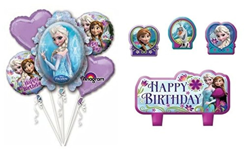 Frozen誕生日エルサand Anaバルーンブーケコンボマイラー箔バルーン+ Birthday Candle Set