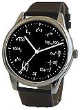 """""""数式文字板""""時計 物理学方程式の表示 磨かれた黒いクロームの大きい文字板 黒い皮のバンド"""