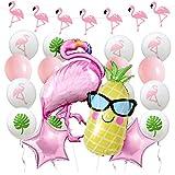 フラミンゴパーティー装飾 バルーン 女の子 動物 誕生日 ベビーシャワー 夏祭り パイナップル ガーランド スター 星 ヤシの葉 風船 飾り 25セット