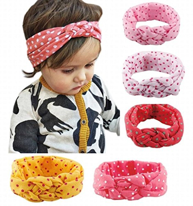 赤ちゃん 子供のヘアバンド 可愛いリポン ヘアクリップ ヘアアクセサリー 5色セット (Cレース柄 7色/セット)