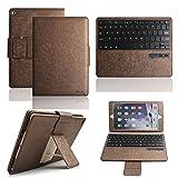 「Boriyuan」 iPad Air2 専用 Bluetoothキーボードカバー ワイヤレスキーボード 良質PUレザーケース Bluetooth3.0搭載 キーボード分離可能 スタンド機能 ブラケット式 iPad Air2 キーボードケース
