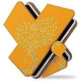 AQUOS R3 SH-04L ケース 手帳型 シンプル ハート オレンジ 花 フラワー 手帳 カバー アクオスアール3 アクオスR3 エスエイチ04エル 手帳型ケース 手帳型カバー 花柄 ワンポイント [シンプル ハート オレンジ/t0754]