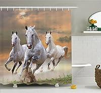 "Ambesonne動物インテリアコレクション、Herd Of Wildノーブルで実行馬のSnows A Bright Fresh Winter Day Glorious画像、ポリエステル生地浴室シャワーカーテンフック付きセット、ブルーホワイト 69"" W By 84"" L sc_16160_Horses_07.06_extralong"