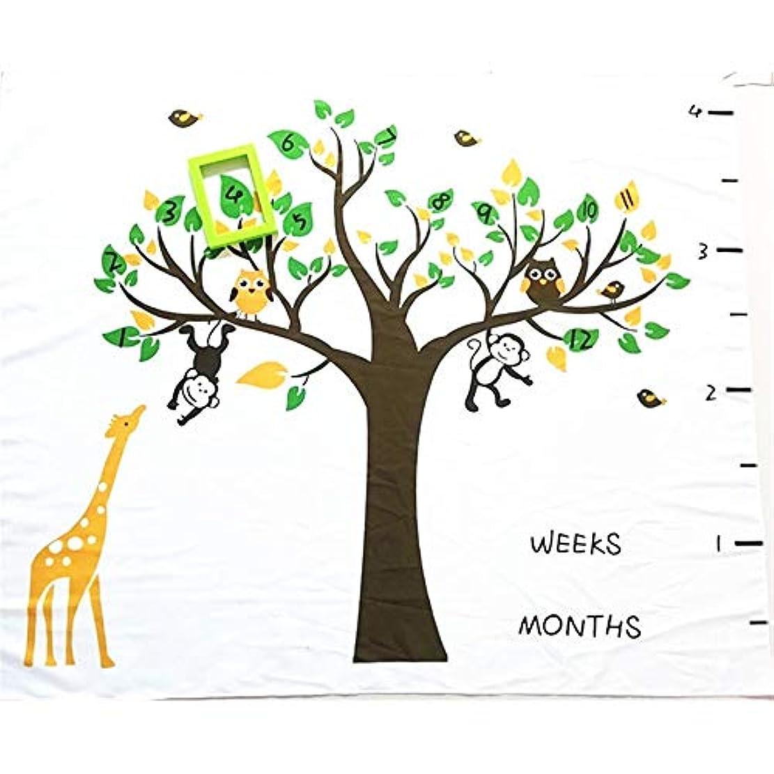 道を作るスキャンダラスしばしば撮影毛布 赤ちゃんの木マイルストーン毛布葉の花輪マーカーかわいい動物写真背景月間成長写真マット写真の小道具敷物 (色 : C1, サイズ : 100X150cm)
