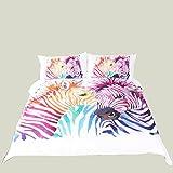 動物の3D効果キルト色の馬の羽毛布団カバーピローの通気性のデザイン(シングルダブルクイーンキング)3つの完全な寝具セット,210*210Cm Rventric
