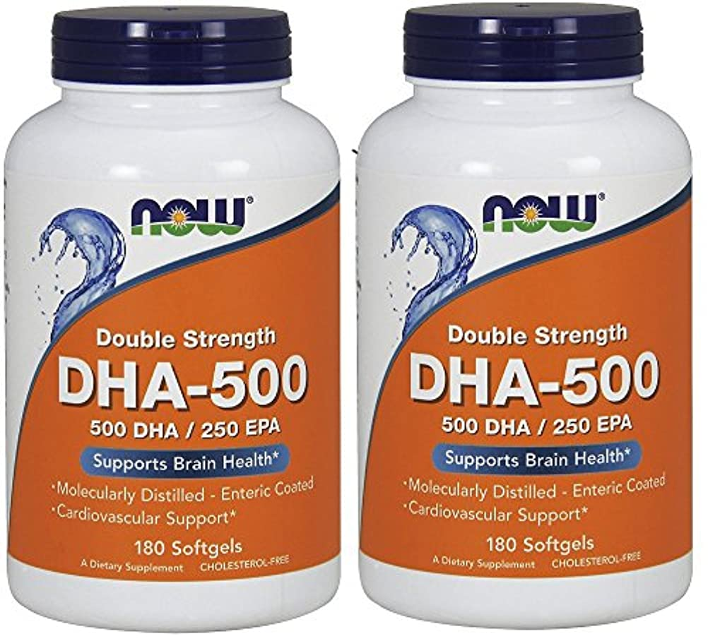 雄弁仮定星[海外直送品] ナウフーズ  (2個セット)  DHA 180 Softgels 500 Mg