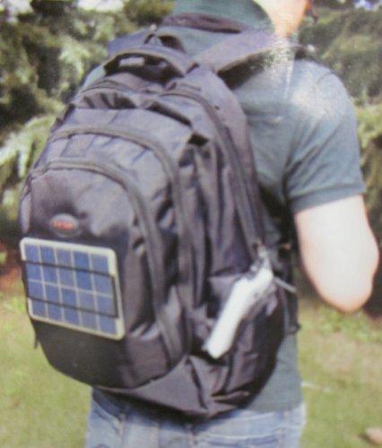 【全国送料無料】 5000mAh 大容量モバイルバッテリー搭載!! 強化ガラス 使用 ソーラーパネル 付 リュックサック バックパック バッグパック (ブラック)