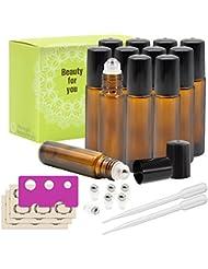 Mavogel Glass Roll-on Bottles - 10ml, 12 Pack, Amber, Extra Stainless Steel Roller Balls, Essential Oil Opener...
