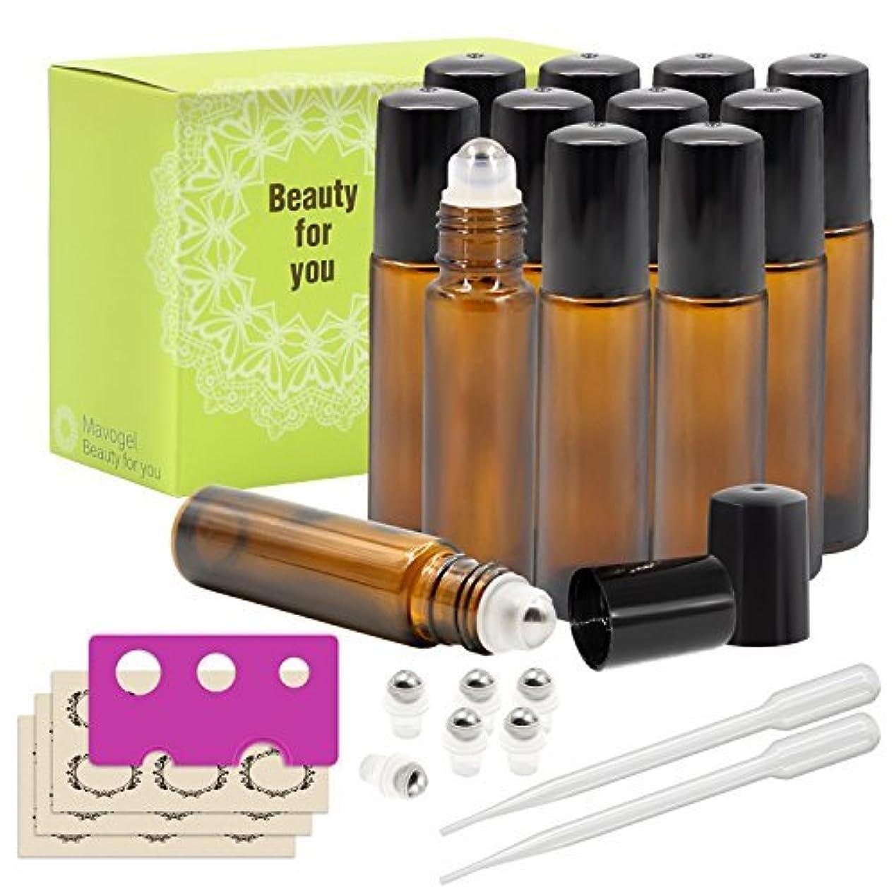 まあ電子蓋Mavogel Glass Roll-on Bottles - 10ml, 12 Pack, Amber, Extra Stainless Steel Roller Balls, Essential Oil Opener...