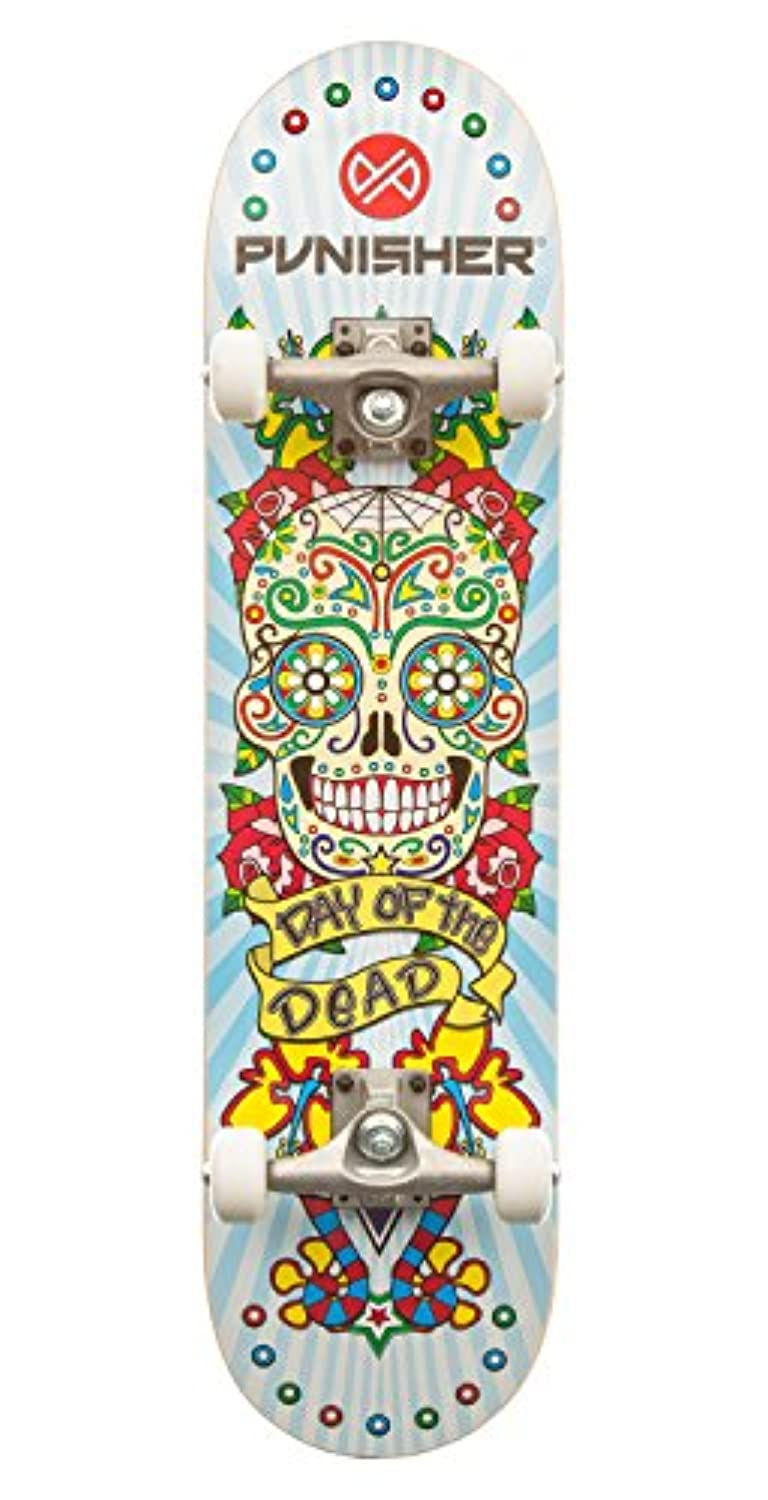 Punisher Skateboards Day of the Dead 31.5 Dual-Kick with Concave Complete Skateboard, White by Punisher Skateboards