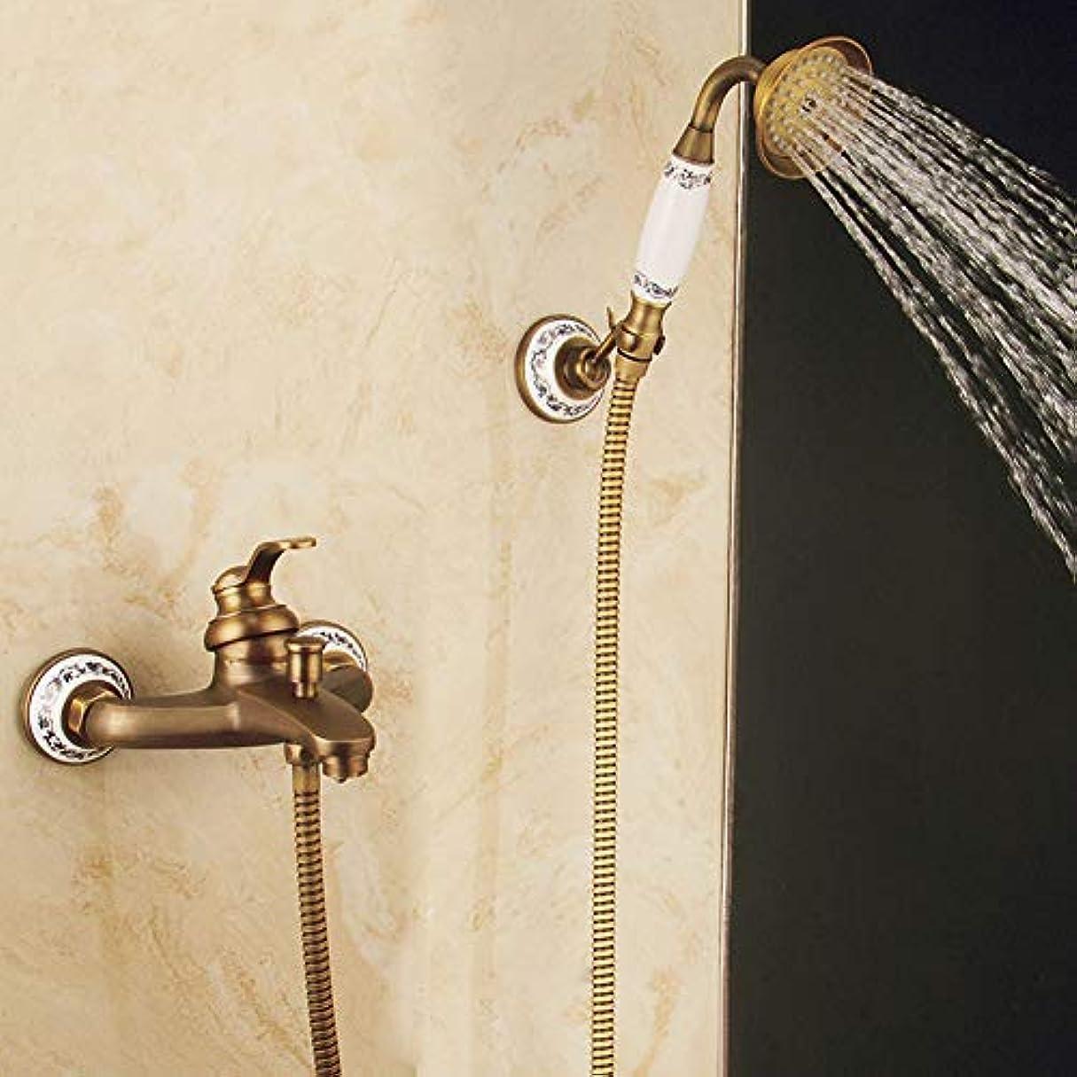 入口アレイ潮シャワーシステム、シャワーミキサーセットアンティークブラスシャワーミキサータップシンプルシャワーセット家庭、オフィス、部屋、カフェ、ベッドルーム、ホテル、レストラン、図書館のための温水冷水ミキサー