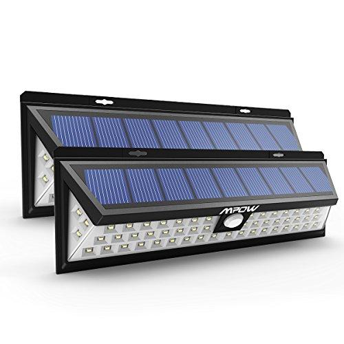 Mpow 54 LED ソーラーライト センサーライト 防犯ライト 外灯 広角ワイヤレス人感センサー 屋外照明/軒先/壁掛け/庭先/ガレージ/玄関周りなど対応 夜間自動点灯 (2点セット)
