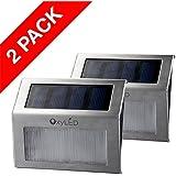 OxyLED® 2-パック組 SL05低電圧階段LEDソーラーステップライト ステンレス鋼の仕上げ 夜間自動点灯/昼自動消灯