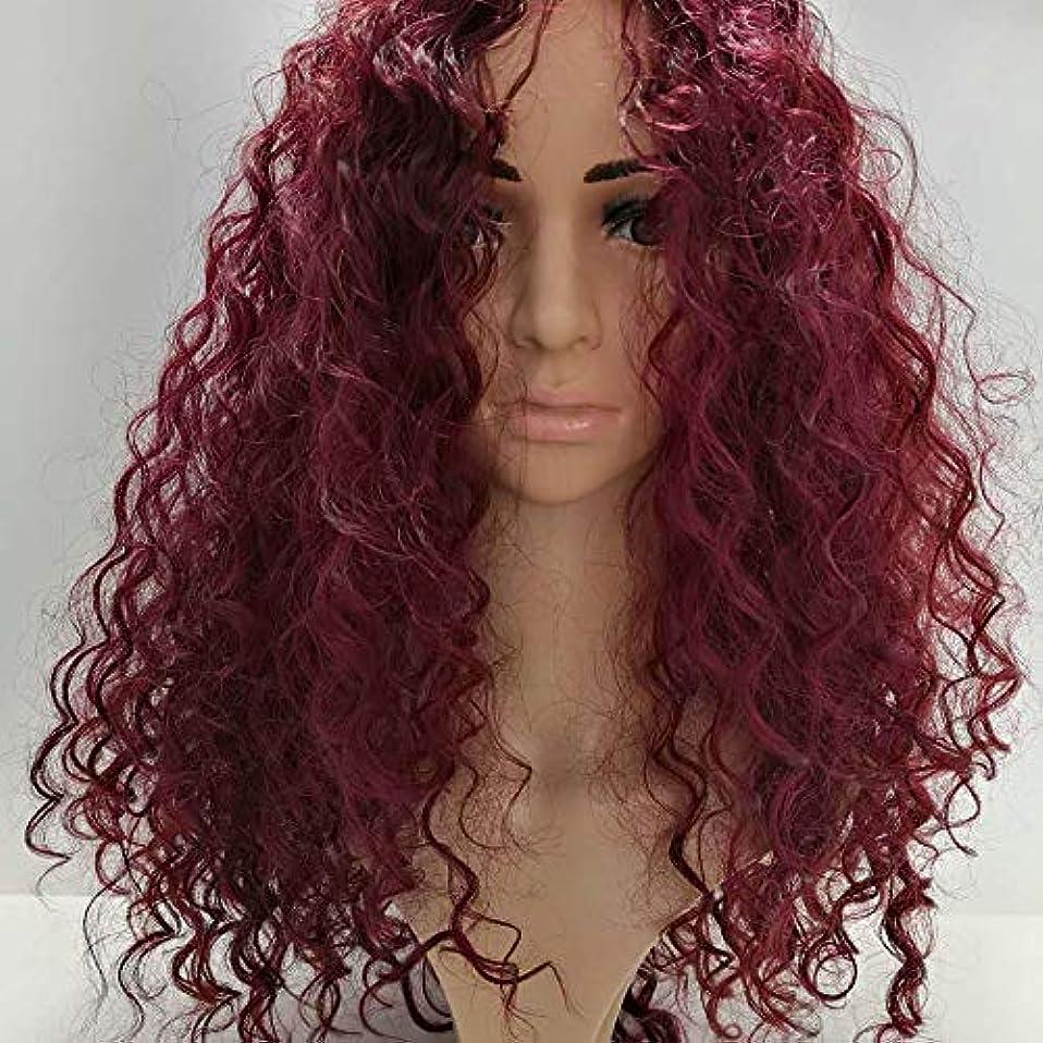推進力賭け増強HOHYLLYA 黒のかつら女性のための長いふわふわカーリーファンシードレスウィッグ耐熱合成毛髪のかつらコスプレパーティー用女性かつらレースのかつらロールプレイングかつら (色 : ワインレッド)