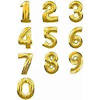 バルーンで装飾?演出 数字 40cm アルミ バルーン 結婚 誕生日 開店のお祝い装飾に (ゴールド : 1)