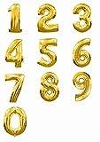 バルーンで装飾・演出 数字 40cm アルミ バルーン 結婚 誕生日 開店のお祝い装飾に (ゴールド : 1)
