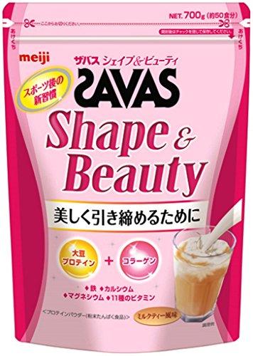 明治 ザバス(SAVAS) シェイプ&ビューティ ソイプロテイン+コラーゲン ミルクティー風味 【50食分】 700g