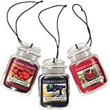 Yankee Candle Car Jar Ultimate Hanging Air Freshener 3-Pack (Berrylicious, Black Cherry, and Red Raspberry)