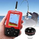 LIJIAN 憲法上の水温センサー、XJ-01ラジオの魚の探知器125KHzのソナーセンサー0.6-36mの深さのロケータ魚群探知機2.4インチの液晶画面とアンテナ