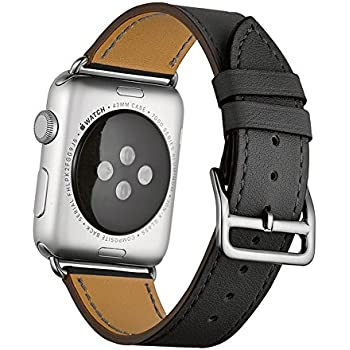 Apple Watch Band Wollpo® 本革 交換バンド 高級 レザー ビジネス用 腕時計ベルト Real Leather Watchband for Apple WatchApple Watch 本革 交換バンド 高級 レザー ビジネス用 腕時計ベルト Real Leather Watchband for Apple Watch (38mm, 黒)