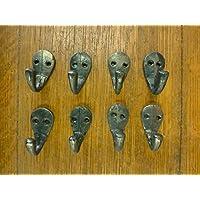 8個 ナチュラルアイアン シングル 2インチ ハンギングフック スモール 装飾アンティークスタイル ハットコート