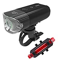 BIKEONO自転車ライト モバイルバッテリーUSB充電 前照灯 高輝度 800 ルーメン2000mah IP65 光感センサー+振動センサー 高輝度 USB充電式テールライト付き (ブラック)
