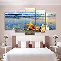 Ssckll モジュラー絵画キャンバス壁アート写真家の装飾5ピースビーチ虹風景ヒトデ海シェル現代ポスター-フレームレス
