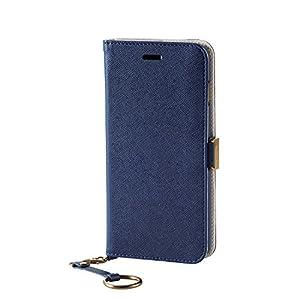 エレコム iPhone7 Plus ケース [iPhone8 Plus対応] ソフトレザーケース 女子向 マグネット ストラップ付 手帳型 ネイビー PM-A16LPLFJMBUD