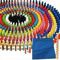 Winning 12色×20個=240個 木製 カラー ドミノ 積木 44×20×7mm 【ドミノ240個&手提げ付き収納袋&並べる用具3点セット】