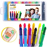 Luxbon 12 Colors Face Paint Crayons Kids Face Painting Kit Body Painting Crayons Safe & Non Toxic Face Painting Sticks for Christmas Halloween Party Makeup Body Paint Set for Toddler Children Adult