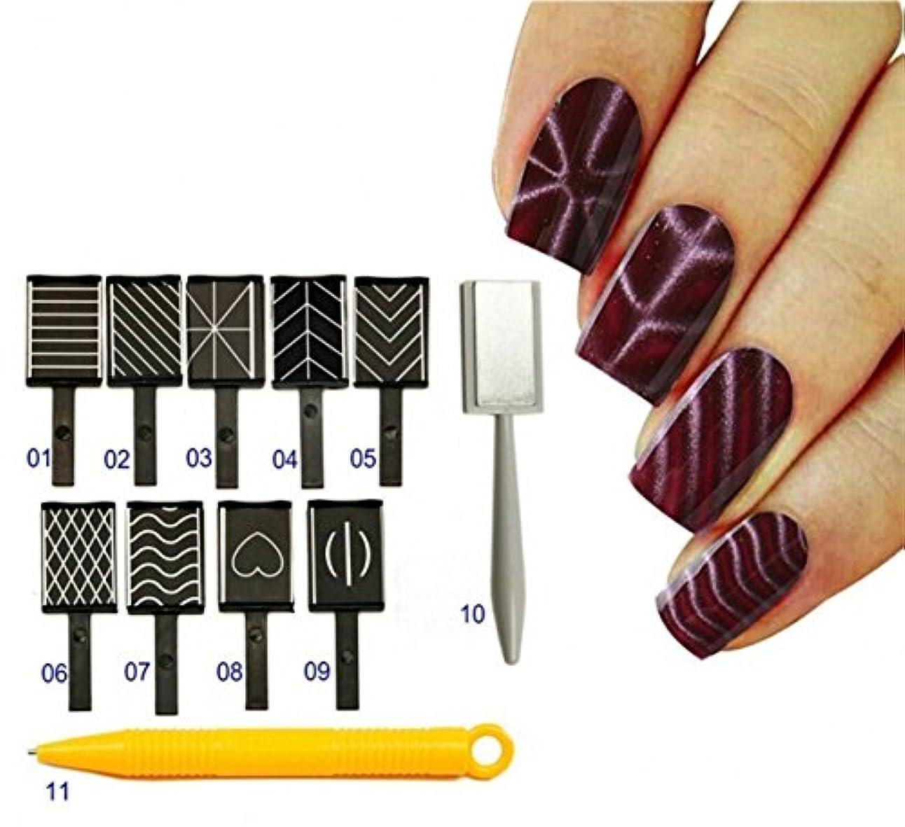 軽減するコールドライバCHENGYIDA 11 STLYE SETキャッツアイ3Dマグネットスティックマグネットを描く垂直スティック&マグネットペンUVネイルジェル用ポーランド語3D魔法のネイルツール