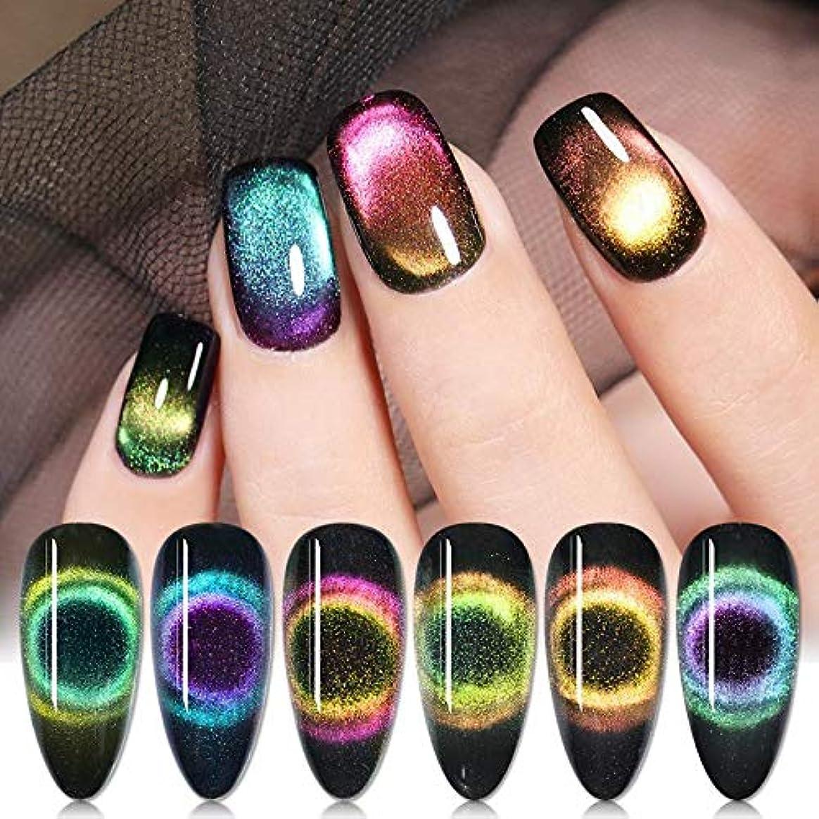 ナインへ拒絶正規化BORN PRETTY 9Dキャッツアイジェルカラー 磁石で模様が変わる 5ml 6色選択可 UV/LED対応 ジェルネイルアート (6色セット)