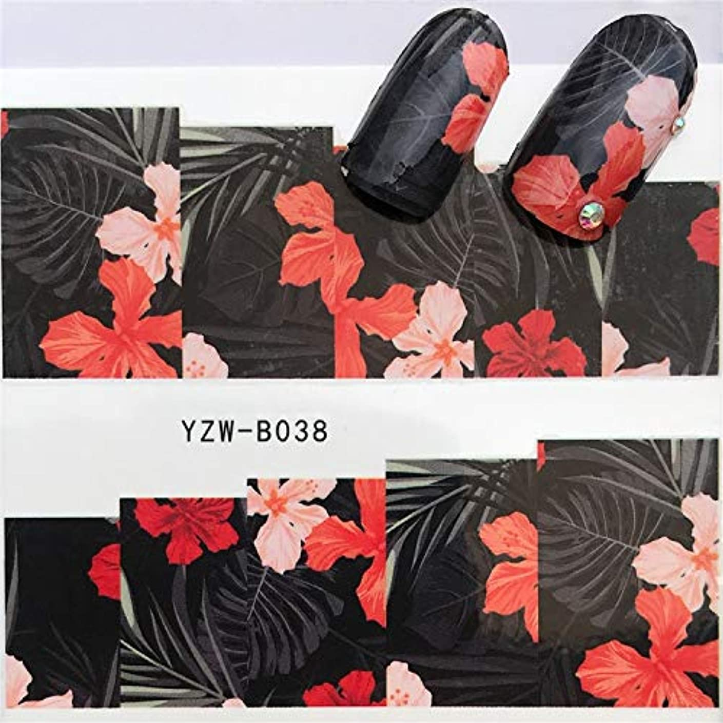 すごいインフレーションモックYan 3個ネイルステッカーセットデカール水転写スライダーネイルアートデコレーション、色:YZWB038